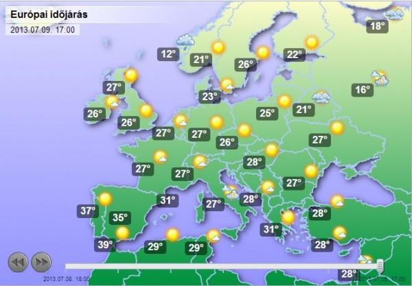 időjárási térkép európa Tombol a nyár Európában | időjárási térkép európa